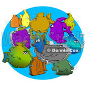 Diverse Group Of Different Colored 3d Fish Schooling Together With Bubbles Clipart Illustration © djart #16994