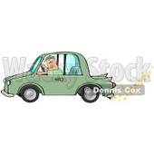 Caucasian Man Driving A Green Car With Popcorn Popping Out Of The Muffler, Symbolizing A Biodiesel Car Clipart Illustration Image © Dennis Cox #16995