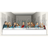 "People Clipart Picture of a Parody Of ""The Last Supper"" By Leonardo Da Vinci Showing Jesus And His Twelve Apostles At A Long Dinner Table With Plates And Glasses In Front Of Them During The Lord's Supper © Dennis Cox #16997"