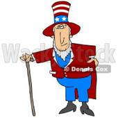 Uncle Sam In A Red And White Striped Hat With Stars, Red Jacket And Blue Pants, Standing With A Walking Cane And Holding One Hand On His Hip Clipart Illustration Image © Dennis Cox #17001