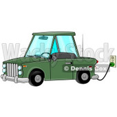 Environmentally Friendly Green Electric Car Parked In A Garage And Plugged Into An Electrical Socket While Charging Clipart Illustration Image © Dennis Cox #17002