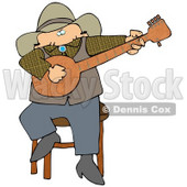 Caucasian Male Cowboy Sitting On A Stool And Playing A Banjo While Entertaining People During An Event Clipart Illustration Image © djart #17003