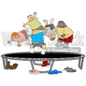 Happy Multi-Ethnic And Multi-Gender Children Jumping On A Trampoline Together While Playing Clipart Illustration Image © djart #17004