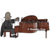 Black African American Pianist Sitting On A Bench And Playing A Grand Piano During A Concert Clipart Illustration Image © Dennis Cox #17005