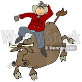Male Caucasian Cowboy Holding Onto His Hat While Riding A Bucking Bronco Bull During A Rodeo Clipart Illustration Image © djart #17007