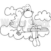 Cartoon Black and White Male Angel Sitting on a Cloud and Wearing a Mask © djart #1705735