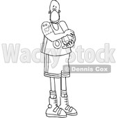 Cartoon Black and White Basketball Player Wearing a Mask © djart #1705736