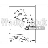 Cartoon Black and White Businessman Wearing a Covid19 Mask and Working in a Cubicle © djart #1705741