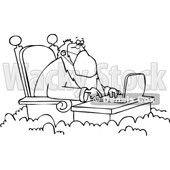Cartoon Black and White St Peter Wearing a Mask and Working on a Laptop © djart #1705742