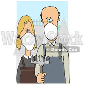 Cartoon American Gothic Parody of a Farmer Couple Wearing Masks © djart #1705746