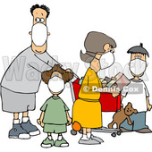 Cartoon Family Wearing Masks and Shopping During the Covid19 Pandemic © djart #1705754