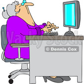 Cartoon Old Woman Looking up at Her Computer Desk © djart #1706016