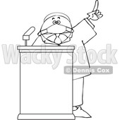 Cartoon Black Politician Wearing a Face Mask and Speaking at a Podium © djart #1706459