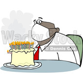 Cartoon Black Businessman Wearing a Face Mask and Sitting in Front of His Birthday Cake © djart #1706462