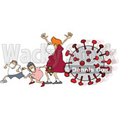 Cartoon Mother and Children Wearing a Mask and Running from Viruses © djart #1706664