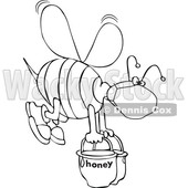 Black and White Bee Wearing a Mask and Carrying Heavy Buckets of Honey © djart #1708583