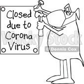 Cartoon Black and White Dog Nailing up a Closed Due to Corona Virus Sign © djart #1708584