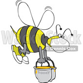Bee Wearing a Mask and Carrying Heavy Buckets of Honey © djart #1708585