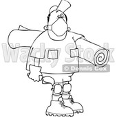 Cartoon Black and White Male Carpet Layer Wearing a Mask and Carrying a Roll and Trowel © djart #1708853