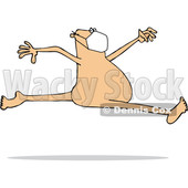 Cartoon Carefree Nude White Man Wearing a Mask and Leaping © djart #1708855