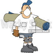 Cartoon Male Carpet Layer Wearing a Mask and Carrying a Roll and Trowel © djart #1708856