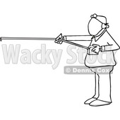 Cartoon Black and White Man Measuring 6 Feet of Distance and Wearing a Mask © djart #1709442