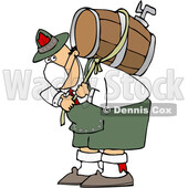 Cartoon Oktoberfest Man Carrying a Keg and Wearing a Mask © djart #1709445