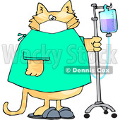 Cartoon Sick Cat Wearing a Hospital and Walking with IV Fluids in a Hospital © djart #1709732