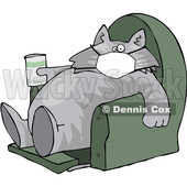 Cartoon Fat Lazy Cat Wearing a Mask Holding a Glass of Milk and Sitting in a Chair © djart #1712433