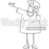 Cartoon Lineart Woman Wearing a Mask and Yaking on a Cell Phone © djart #1713653