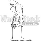 Cartoon Black and White Coronavirus Bride Wearing a Mask © djart #1714231