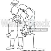 Cartoon Black and White Coronavirus Bride and Groom Wearing Masks © djart #1714232