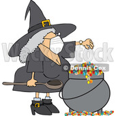Cartoon Witch Wearing a Mask and Making a Spell in Her Cauldron © djart #1714237