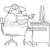 Cartoon Black and White Chubby Woman Wearing a Mask and Working at a Desk © djart #1714312