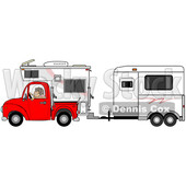Woman Driving a Red Pickup Truck with a Camper and Hauling a Horse Trailer © djart #1714540