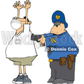 Cartoon Officer Arresting a Man Wearing a Mask © djart #1716276