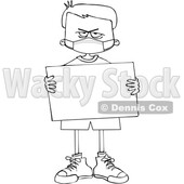 Cartoon Black and White Angry Boy Wearing a Sign and Holding a Mask © djart #1716845
