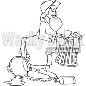 Cartoon Black and White Garbage Man Wearing a Mask © djart #1716846