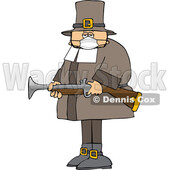 Cartoon Pilgrim Wearing a Mask and Holding a Blunderbuss Rifle © djart #1716849