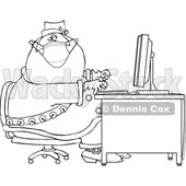 Cartoon Black and White Christmas Santa Claus Wearing a Mask at a Computer Desk © djart #1716942