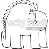 Cartoon Black and White Dinosaur Wearing a Covid Mask © djart #1717102