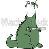 Cartoon Crazy Dinosaur Wearing a Covid Mask © djart #1717104