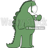 Cartoon Dinosaur Wearing a Covid Mask and Checking Its Watch © djart #1717106