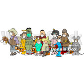 Cartoon Covid Halloween Kids Wearing Masks © djart #1717107