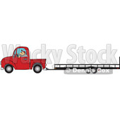 Cartoon Man Driving a Red Truck and Towing a Trailer © djart #1717410