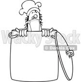 Cartoon Black and White Nun Male Chef Wearing a Mask in a Pot © djart #1717509
