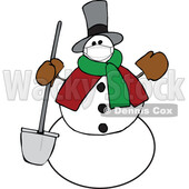 Cartoon Snowman Wearing a Covid Mask and Holding a Shovel © djart #1717514