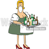 Cartoon Oktoberfest Beer Maiden Wearing a Mask and Serving Beer in Mugs and Bottles © djart #1717516