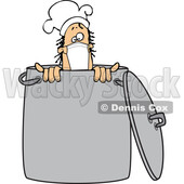 Cartoon Male Chef Wearing a Mask in a Pot © djart #1717517