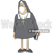 Cartoon Nun Wearing a Face Mask © djart #1717519